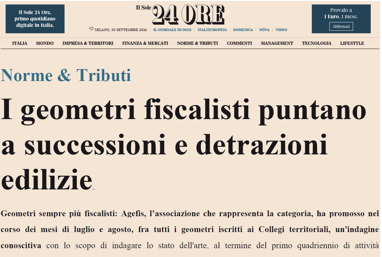 Da Il Sole 24 Ore: I geometri fiscalisti puntano a successioni e detrazioni edilizie